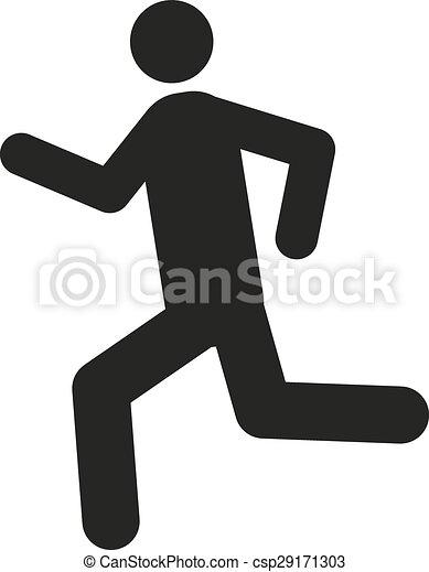 Der Mann mit Ikone. Symbol aktivieren. Flat - csp29171303