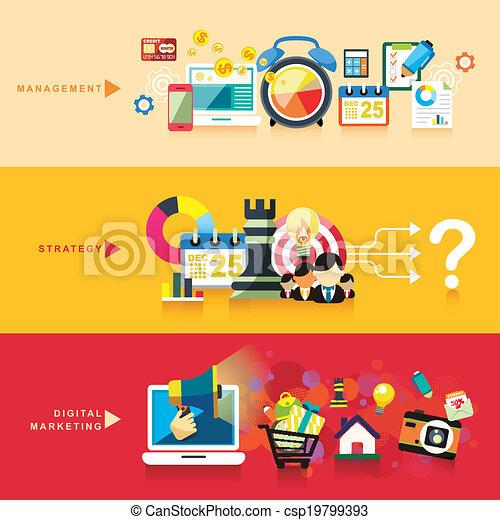 Flaches Design für Management, Strategie und digitales Marketing - csp19799393