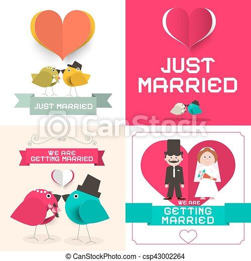 Nur verheiratet. Vector Hochzeitskarten bereit. Papier-Retro-Flachbild-Layout. - csp43002264