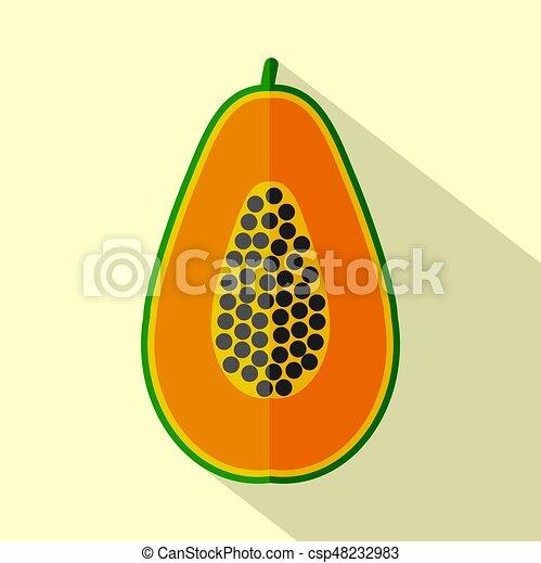 wohnung, papaya, abbildung, vektor, design, ikone - csp48232983
