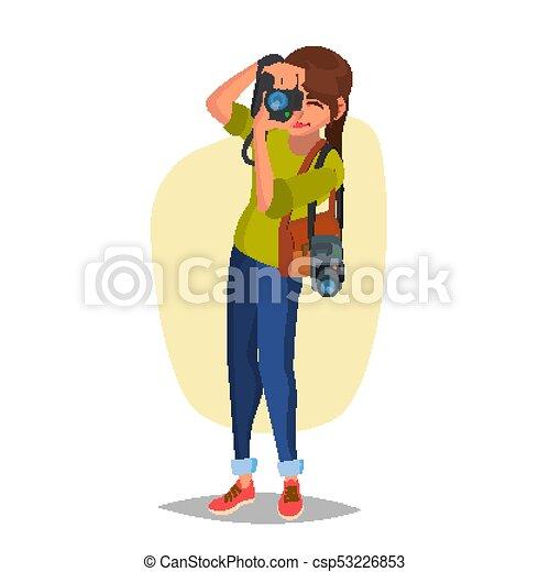 wohnung, pictures., vector., fotograf, nehmen, photo., abbildung, studio, weiblicher fachmann, karikatur - csp53226853