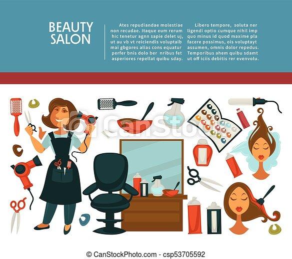 Wohnung Salon Frau Schoenheit Friseur Plakat Haar Färbung