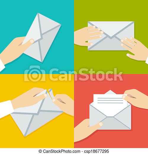 wohnung, satz, envelope., hand, vektor, besitz, illustrationen, style. - csp18677295