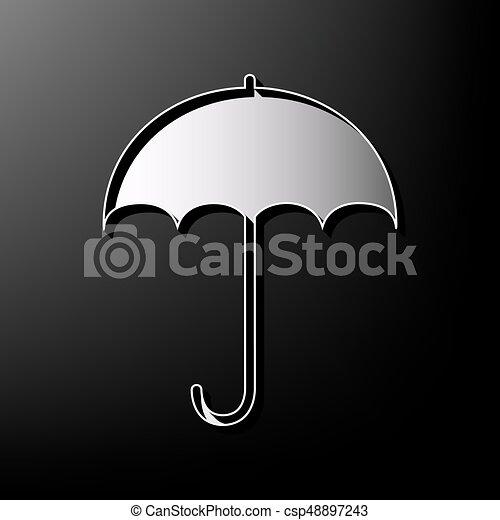 Wohnung, Schirm, Graue , Symbol., Regen, Zeichen, Hintergrund., Schutz,  Design, Gedruckt, Vector.,
