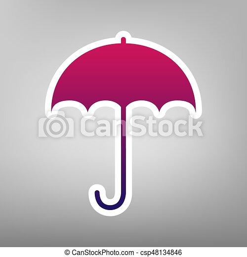 Wohnung, Schirm, Schutz, Graue , Lila, Symbol., Regen, Zeichen