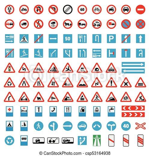 Verkehrsschilder-Sammlung Icons Set, Wohnung Stil - csp53164938