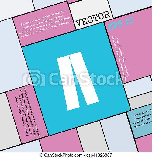 wohnung, stil, ikone, zeichen., modern, vektor, hose, dein, design. - csp41326887