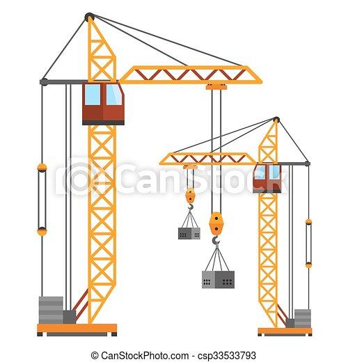 Wohnung, Stil, Industrielle Kräne, Silhouetten, Vektor, Baugewerbe    Csp33533793