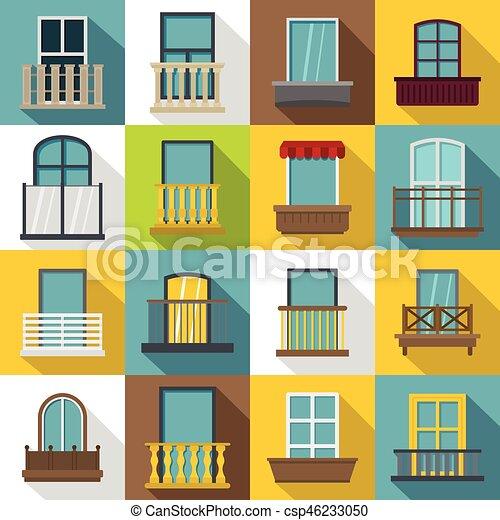 Wohnung Stil Satz Heiligenbilder Balkon Formen Fenster
