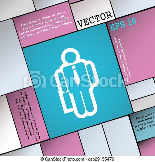 wohnung, stil, zeichen., modern, vektor, geschäftsmann, ikone, dein, design. - csp29155476