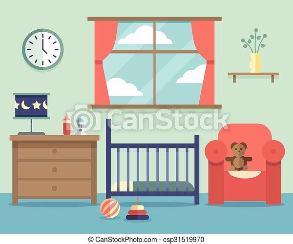 Wohnung, Stil, Zimmer, Baby, Baumschule, Inneneinrichtung, Möbel    Csp31519970