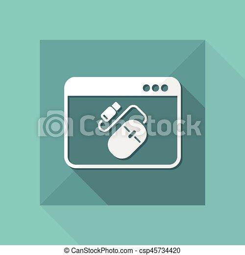 Wohnung, usb kabel, -, vektor, maus, minimal, ikone Vektor ...