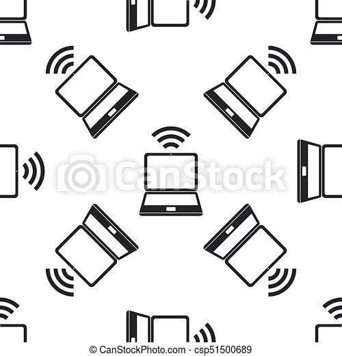 Wohnung, vernetzung, technologie, muster, laptop, wifi, seamless ...