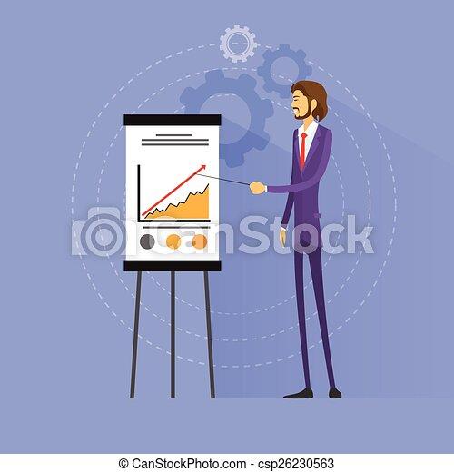Geschäftsmann zeigt Graphen Flachbild-Vektor - csp26230563