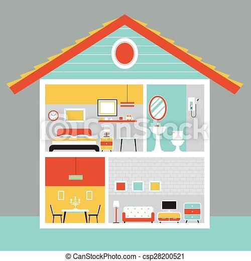 Wohnung zimmer haus design schnitt m bel vektor for Meine wohnung click design download