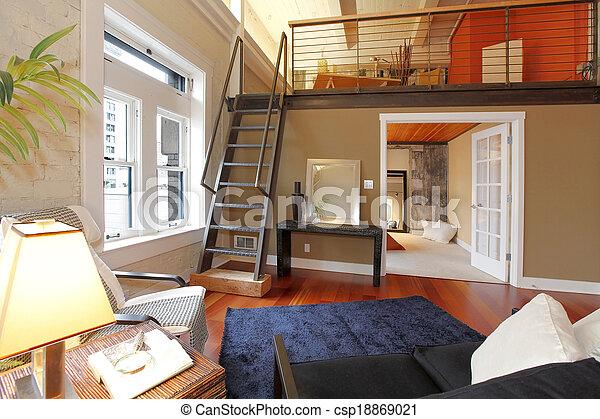 Wohnzimmer, bereich, mezzanine, modern, reconstructed.... Stockfoto ...