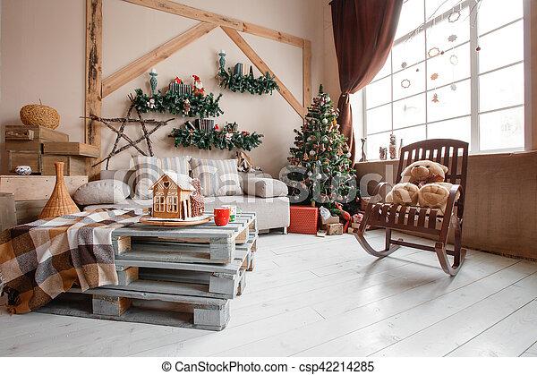 Stock Foto   Wohnzimmer, Blanket., Daheim, Bild, Modern, Baum, Sofa,  Gelassen, Tisch, Inneneinrichtung, Bedeckt,