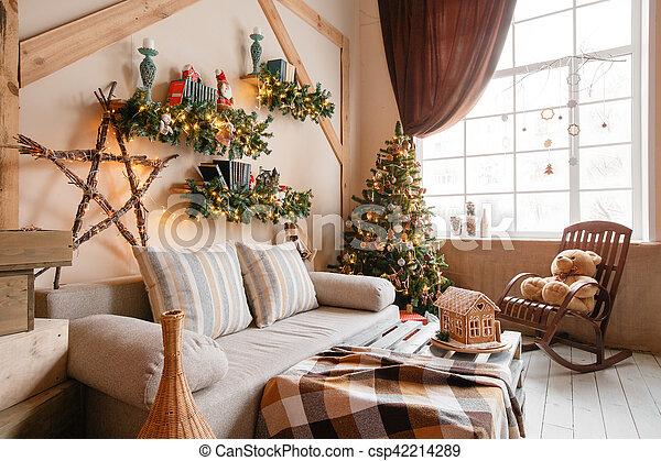 Wohnzimmer, Blanket., Daheim, Bild, Modern, Baum, Sofa, Gelassen