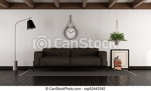Wohnzimmer, braunes sofa. Wohnzimmer, braunes leder sofa, -, dunkel ...