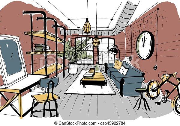 Bücherregal gezeichnet  Zimmer, hand, gezeichnet, inneneinrichtung, tisch, stuhl,... EPS ...