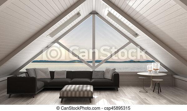 Wohnzimmer, Dachgeschoss, Panorama, Klassisch, Sommer, Groß, Mezzanine,  Skandinavisch,