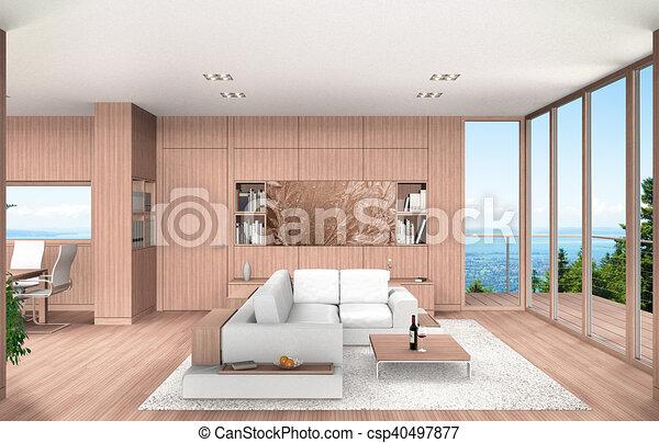 Hochwertig Wohnzimmer, Essen, Ausstellung, Modern, übertragung, Holz, Buche, Täfelung,