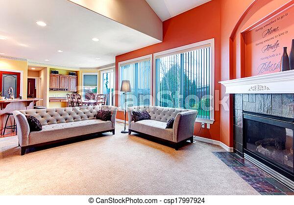 Wohnzimmer, Farbe, Hell, Orange, Schema   Csp17997924