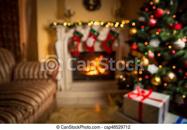wohnzimmer, fokus, hintergrund, dekoriert, weihnachten, heraus - csp48529712
