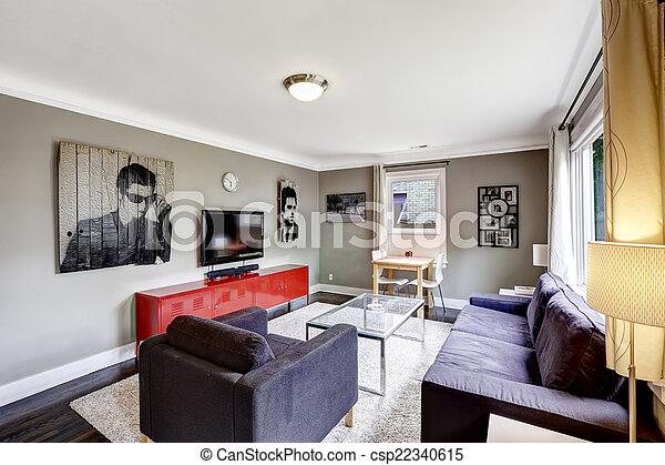 Wohnzimmer, Furnitu, Licht, Grau, Kabinett, Hell, Schwarz Rot   Csp22340615