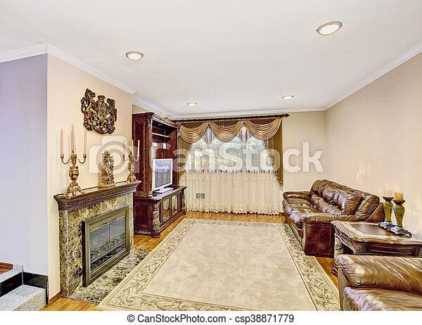 Wohnzimmer, furniture., leder, weinlese, sofa, luxus. Schöne ...