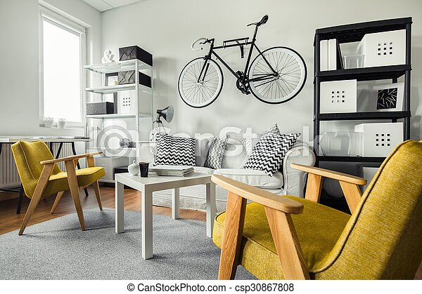 Wohnzimmer, Gelber , Sessel   Csp30867808