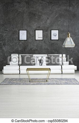 wohnzimmer, grau, plakate
