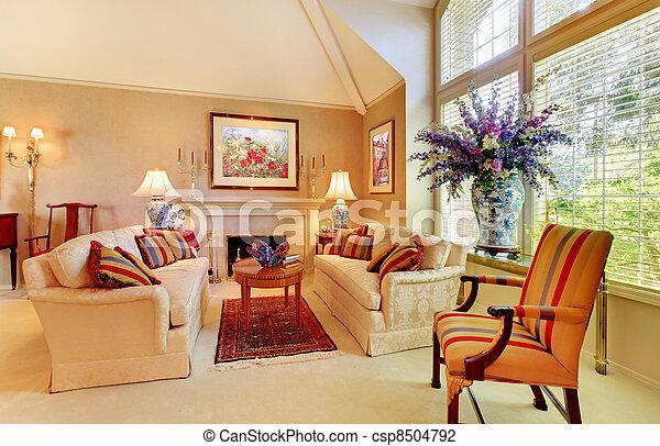 Wohnzimmer, Groß, Elegant, Luxus, Kaminofen, Fenster.   Csp8504792