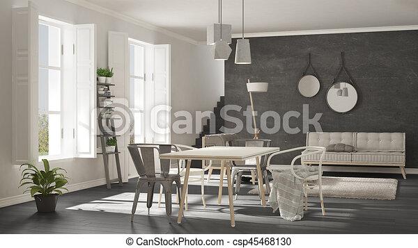 wohnzimmer, groß, graue , windows, skandinavisch, design, minimalist,  inneneinrichtung, weißes