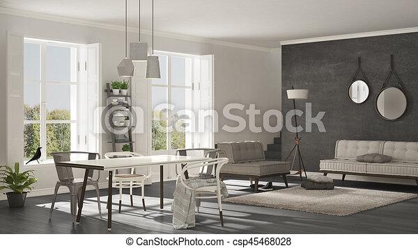 Wohnzimmer Bild Gros ~ Wohnzimmer groß minimalist panorama skandinavisch clipart