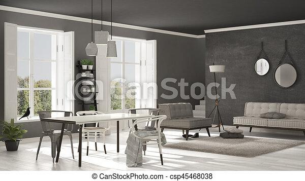 wohnzimmer, groß, minimalist, panorama, skandinavisch, hintergrund, design,  graue , windows, inneneinrichtung, weißes, kleingarten