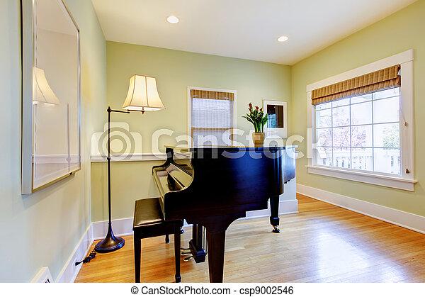 Wohnzimmer, groß, schwarz, fenster., klavier. Wohnzimmer ...