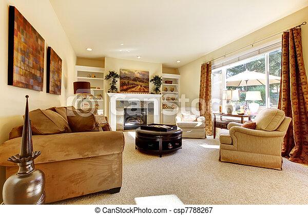 wohnzimmer, groß, sofas, fenster, fireplace., kunst