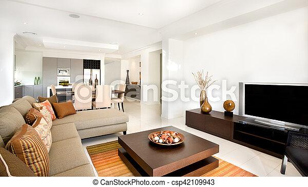 wohnzimmer, haus, modern, ihm, luxuriös, nächste, kueche  - csp42109943