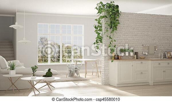 Wohnzimmer Klassisch Raum Kueche Wohnung Design Minimalist Stockfoto.