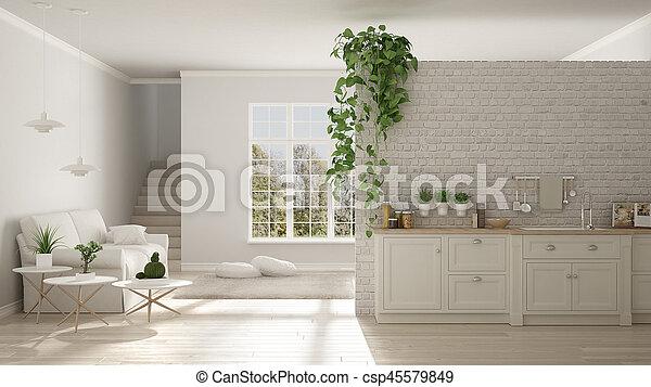 Wohnzimmer Klassisch wohnzimmer klassisch raum kueche skandinavisch stockfoto