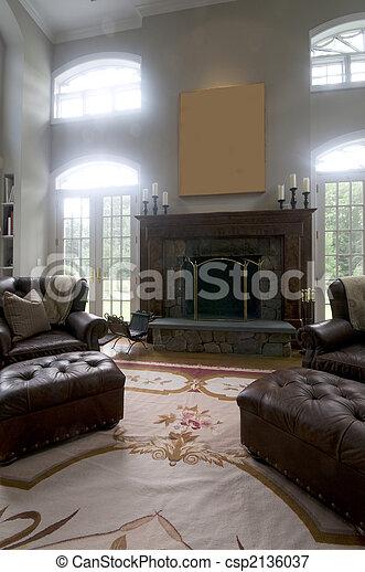 wohnzimmer, leder, groß, stühle, kaminofen