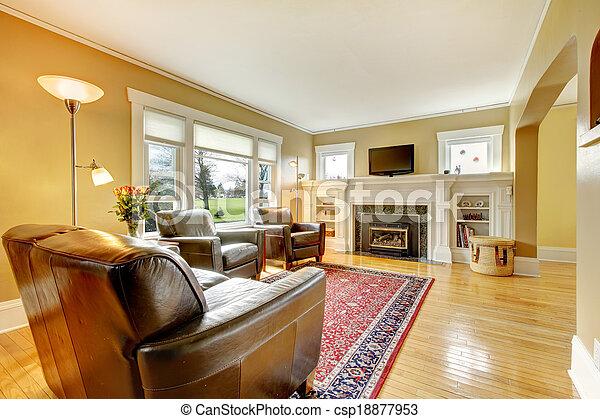 Wohnzimmer, Leder, Set., Elegant, Möbel   Csp18877953