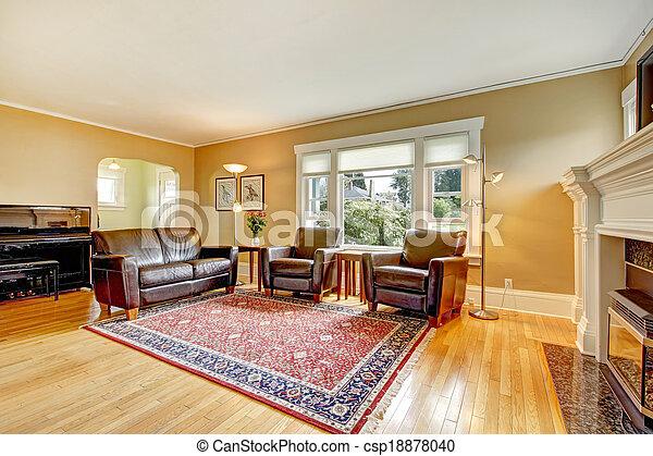 Wohnzimmer, Leder, Set., Elegant, Möbel   Csp18878040