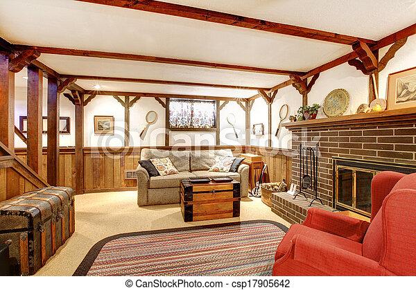 Wohnzimmer Mobliert Rustic Warm Kaminofen Design Stil Altes