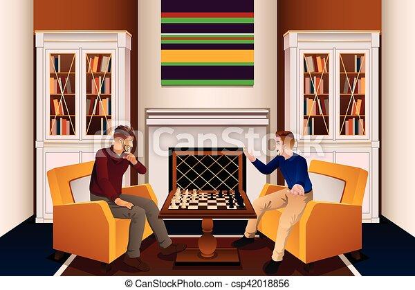 Wohnzimmer maenner zwei schach spielende wohnzimmer for Wohnzimmer clipart
