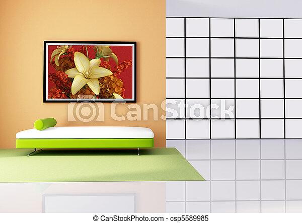 Wohnzimmer, minimalist, orange, weiß rot. Minimalist, kunst, bild ...