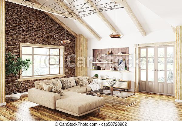 wohnzimmer, modern, übertragung, inneneinrichtung, 3d