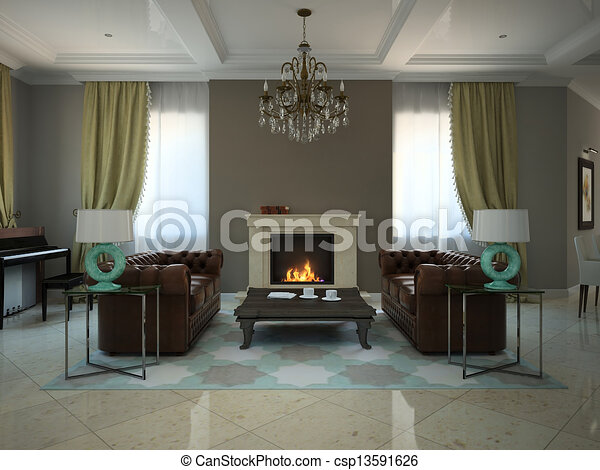 Stock Illustration   Wohnzimmer, Modern, Country House