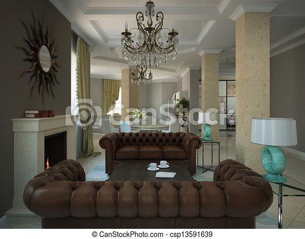 Wohnzimmer, Modern, Country House, Teil   Csp13591639
